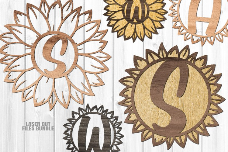 Monogram Sunflower SVG Glowforge Laser Cut Files Bundle