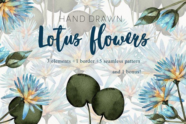 Flower lotus art watercolor for printable prints, pattern example image 1