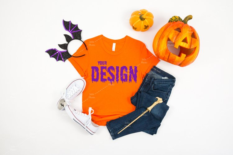 Bella Canvas 3001 Orange T-shirt Mockup for Halloween example image 1