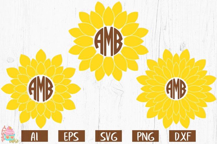 Sunflower Monogram Frames SVG - Monogram Cut Files example image 1