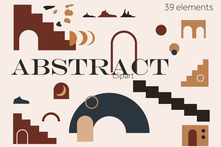 Abstract shapes clipart, Modern elements PNG, SVG geometric example image 1