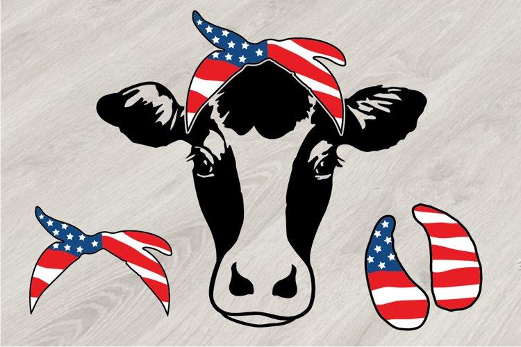 Cow USA Flag Bandana, cowboy 4th July Farm Milk 835S