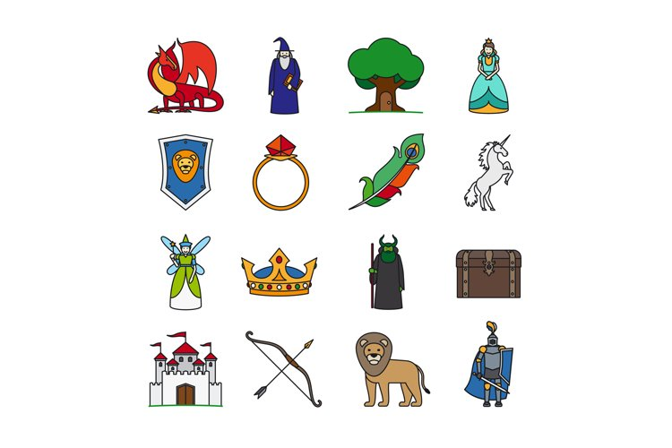 Fairy Tale Thin Line Icons example image 1