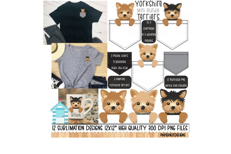 Yorkshire Terriers Pocket Sublimation Designs