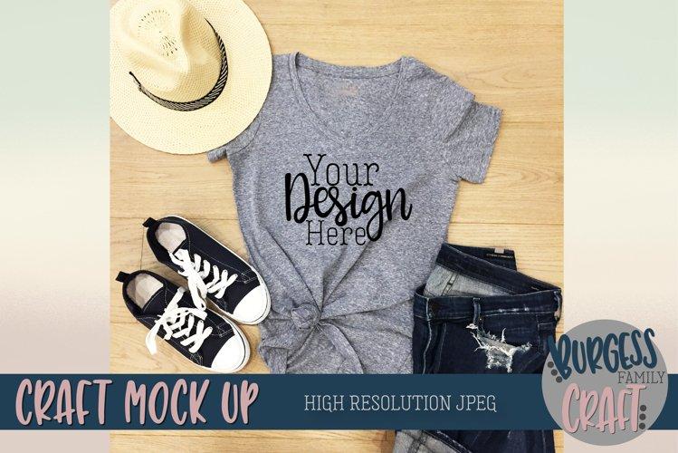 Styled summer t-shirt Craft Mock up   High Resolution JPEG example