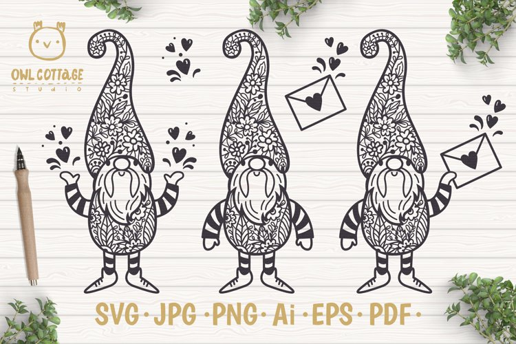 Valentine Gnomes svg , Valentine's Day Svg, Gnome with flor example