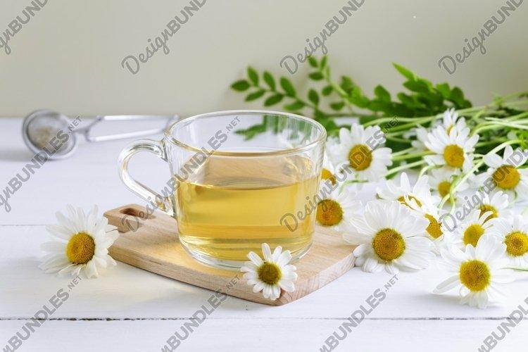 Close-up of chamomile tea.