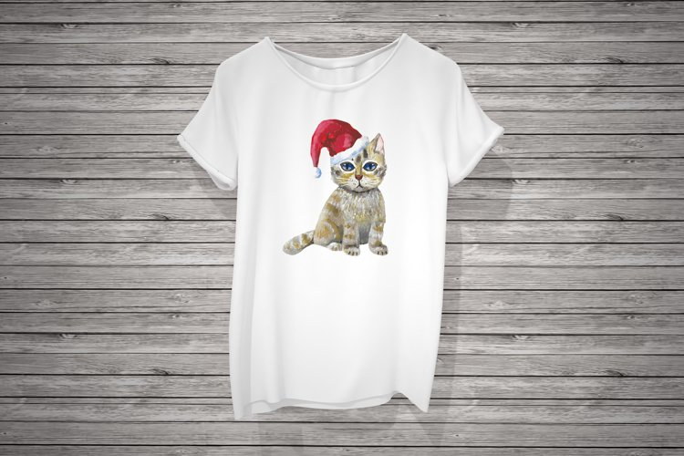 A kitten in a Santa's hat, sublimation example image 1