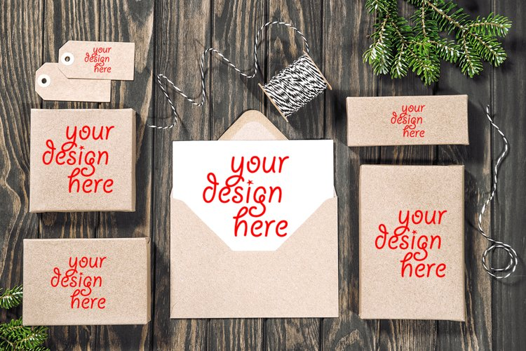 Christmas mock up. Letter paper gift boxes example image 1