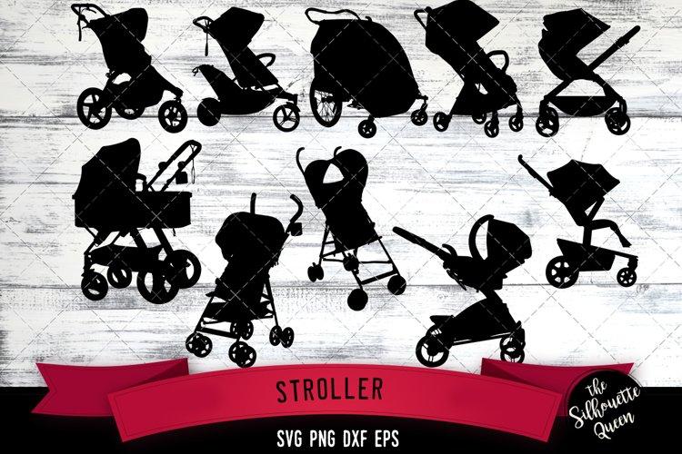 Stroller svg file, pram svg cut file, silhouette studio example image 1