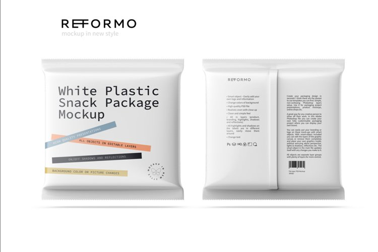 White Plastic Snack Package Front & Back View example image 1