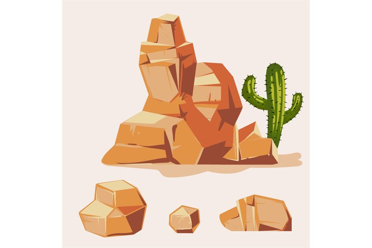 Set of desert rocks. Cartoon isometric 3d flat style. Set of example image 1