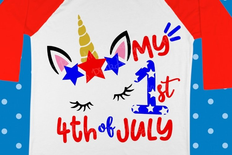 My first 4th of july SVG - 4th of july svg - Baby svg - Unicorn svg - Miss america - Newborn - Baby girl - Summer - SVG - dxf- eps- png- pdf example image 1