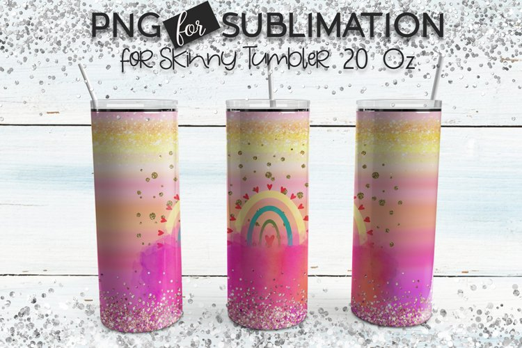 Tumbler sublimation - Pink watercolor modern rainbow