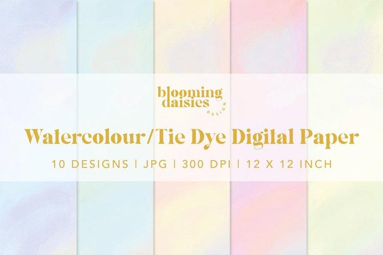 Pastel watercolor digital paper, tie dye paper bundle example 8