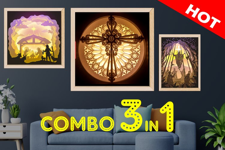 COMBO Jesus Templates Christmas 3D Shadow box example image 1