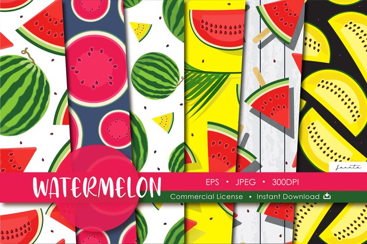 Watermelon Fruit Seamless Pattern Background example image 1