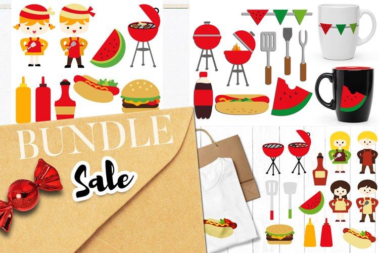 Summer BBQ party clip art illustrations bundle