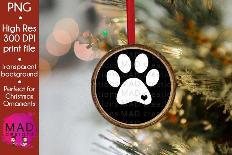 Dog Print - Rustic Wood Slice Christmas Ornament example image 1