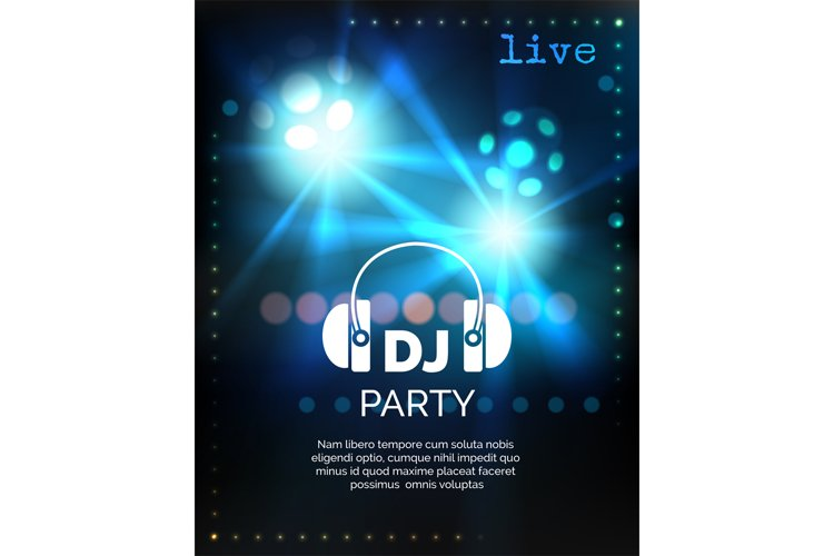 Vector dj party poster template example image 1