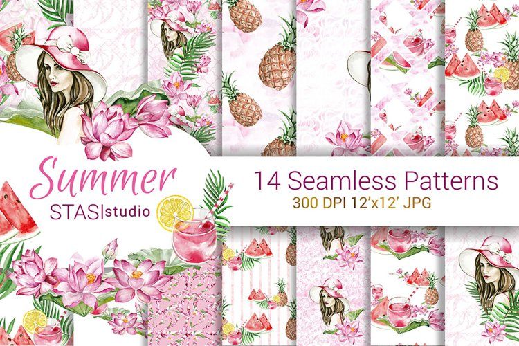 Summer Fashion Paper Pack Digital Seamless Patterns Planner example image 1