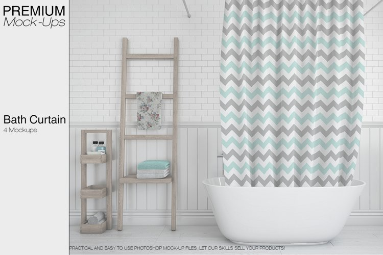 Bath Curtain Mockup Pack example image 1