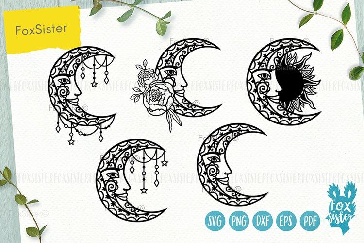 Moon mandala svg bundle, Svg Png Pdf Eps Dxf, Moon svg
