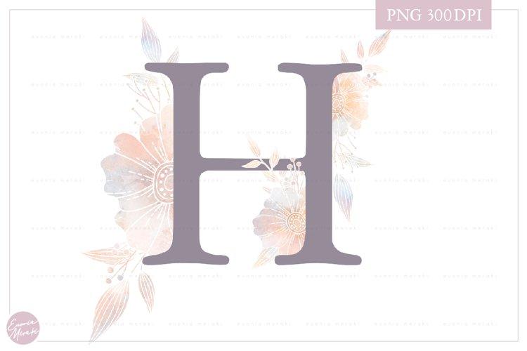Letter H Floral MONOGRAM - Elegant Flower Initials example image 1