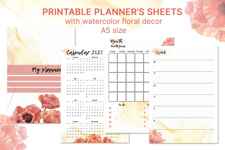 Printable undated planner's sheet A5 example image 1