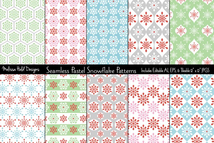 Seamless Pastel Snowflake Patterns example image 1