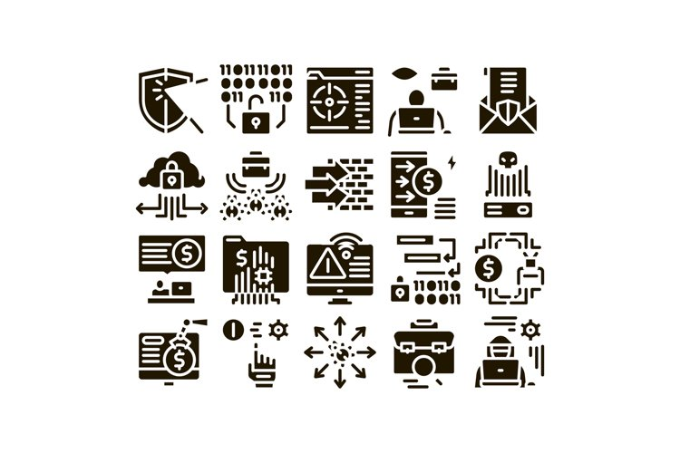 Pentesting Software Glyph Set Vector example image 1