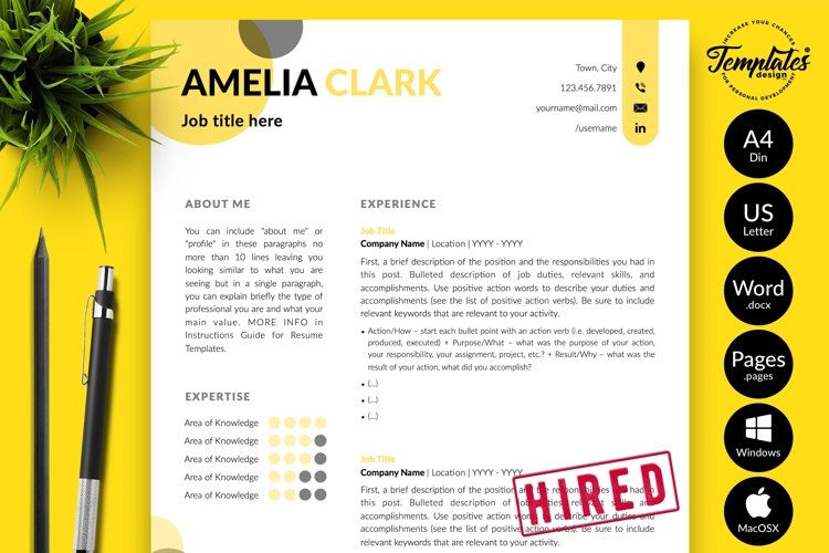 Creative Resume CV Template for Word & Pages Amelia Clark