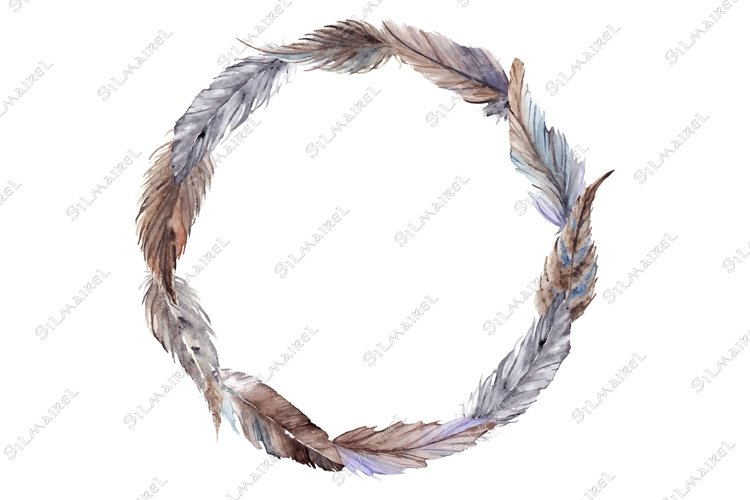 Watercolor brown gray grey feather wreath vector isolated example image 1