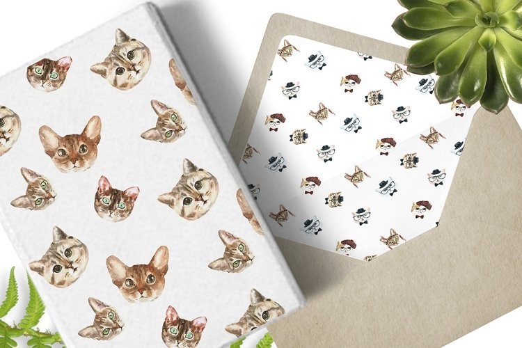 Cat watercolor patterns  - Free Design of The Week Design7