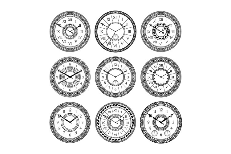 Vector set of vintage clocks. Monochrome pictures isolate. S example image 1