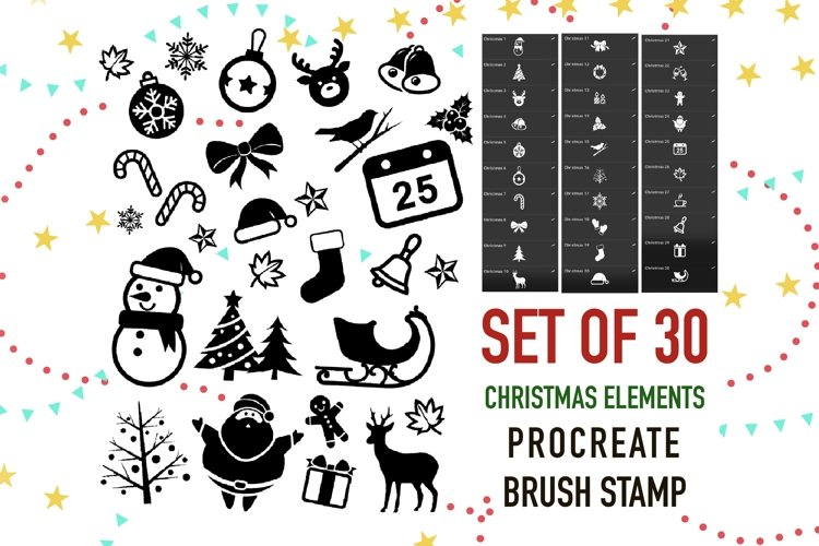 Procreate Brush stamp, Christmas Element Stamps example image 1