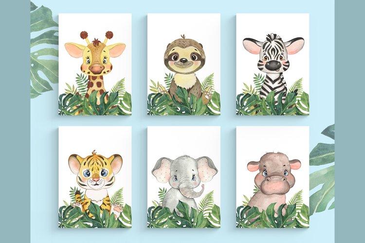 Set of 6 Safari Animal. Nursery Wall Decor. Tropical Animals example image 1