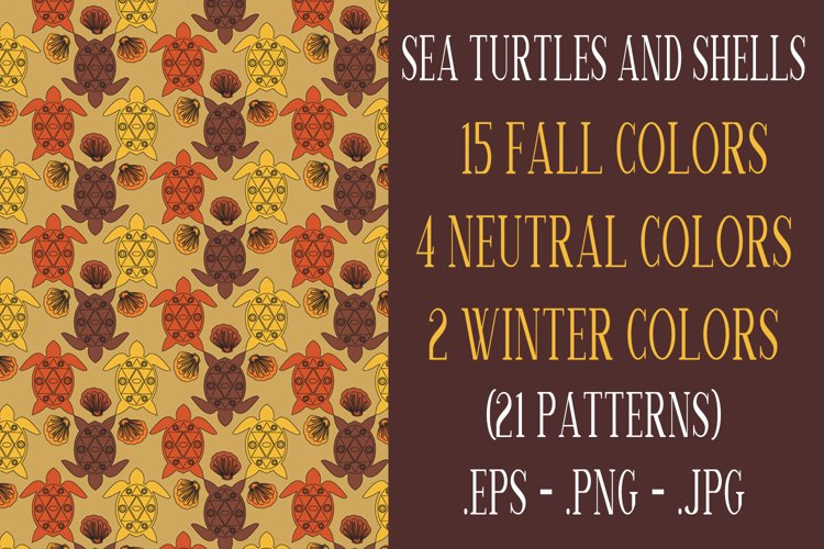 Sea Turtle and Seashells Fall Color Palette Seamless Pattern example image 1