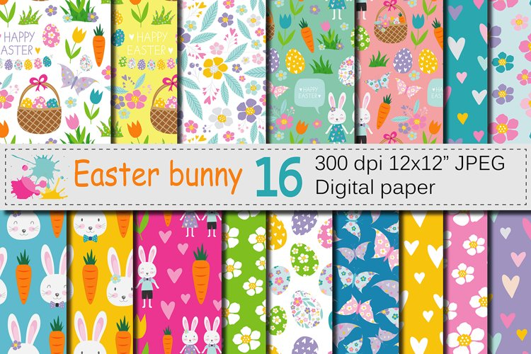 Easter Bunny Digital Paper / Bright Easter Seamless Patterns example image 1