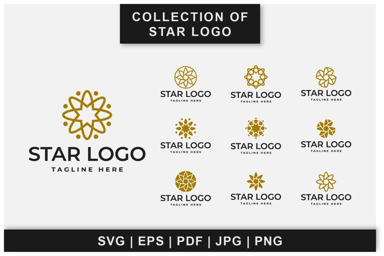 Collection of star logo designs in space
