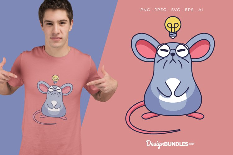 Thinking Mouse Vector Illustration For T-Shirt Design