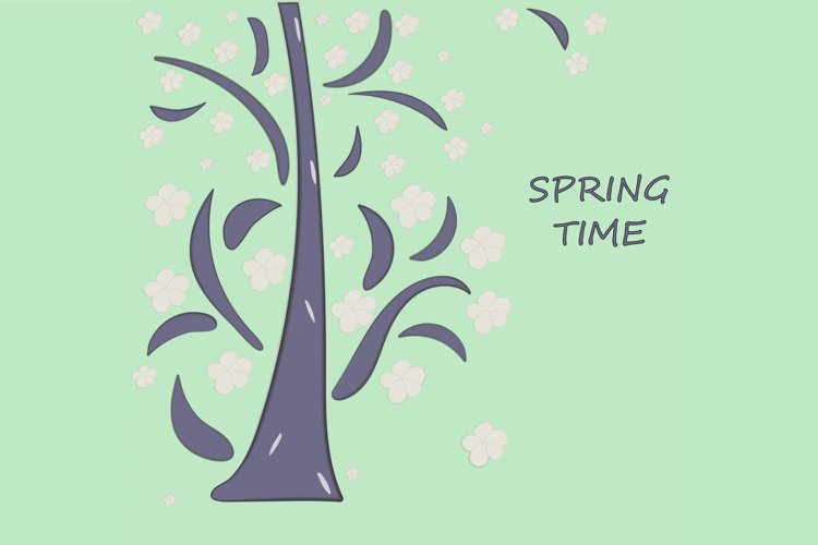 Blooming tree papercut style