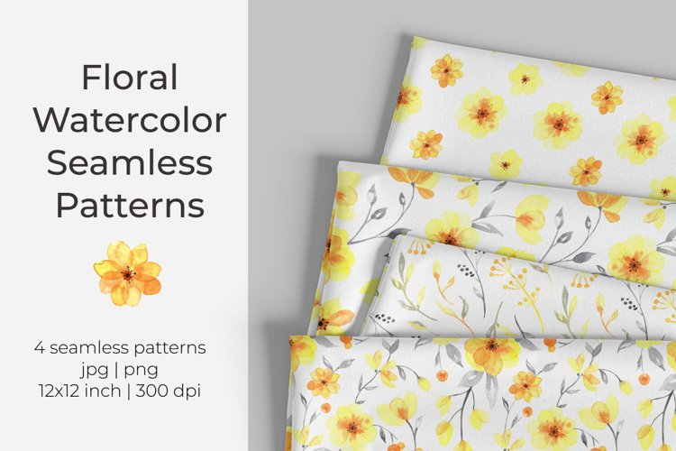 Yellow floral watercolor seamless pattern / digital paper example image 1
