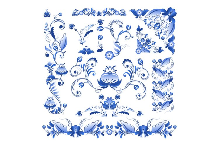 Vector borders, corners and other floral elements in Gzhel s example image 1