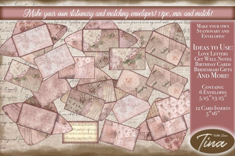 Pink Steampunk Envelopes & Stationary Love Letters Cards