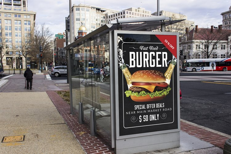 Restaurant Fast Food Bus Stop Banner example image 1