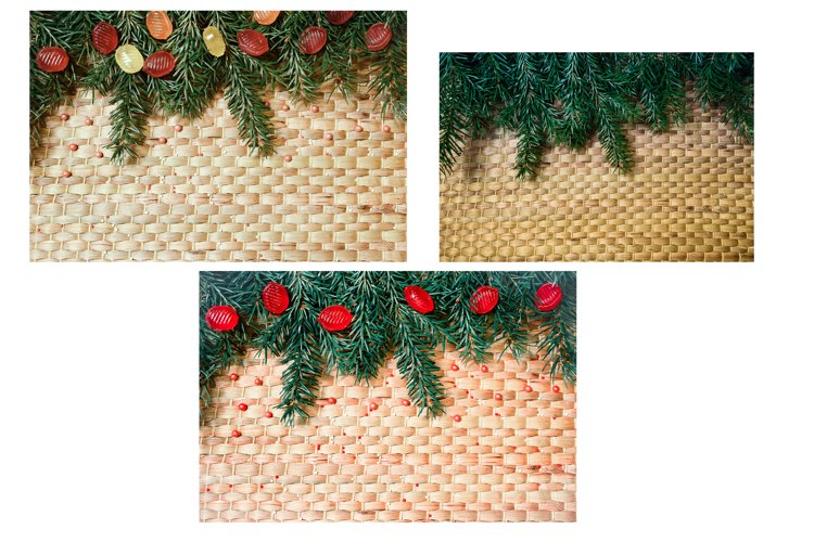 3 Christmas wicker backgrounds with pine needles branches
