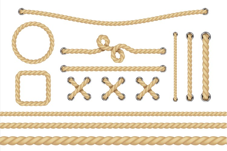 Nautical rope. Round and square rope frames, cord borders. S example image 1