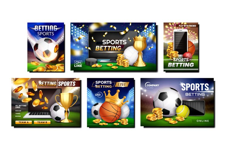 Betting Sports Promotional Posters Set Vector example image 1