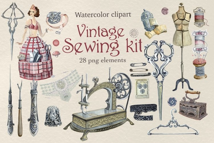 Sewing kit, Watercolor clipart example image 1